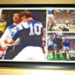A4 Framed Signed Photo montage of Jock McStay's infamous meeting with Duncan Ferguson's forehead at Ibrox in 1994