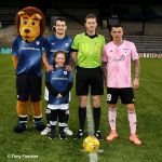 6 Mascot Chloe Murdoch with the Ref. and captains