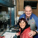 10 LINZI AND JIM CLARK IN THE ANNOUNCERS BOX